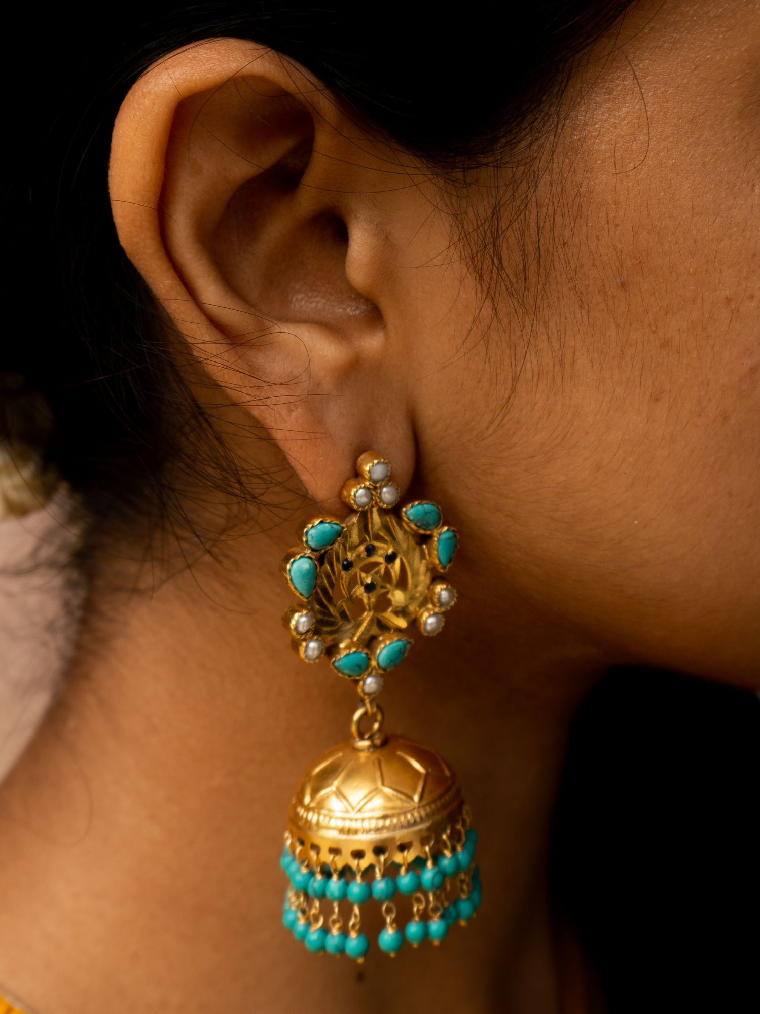 Turquoise, Pearl and Gold Jhumkas