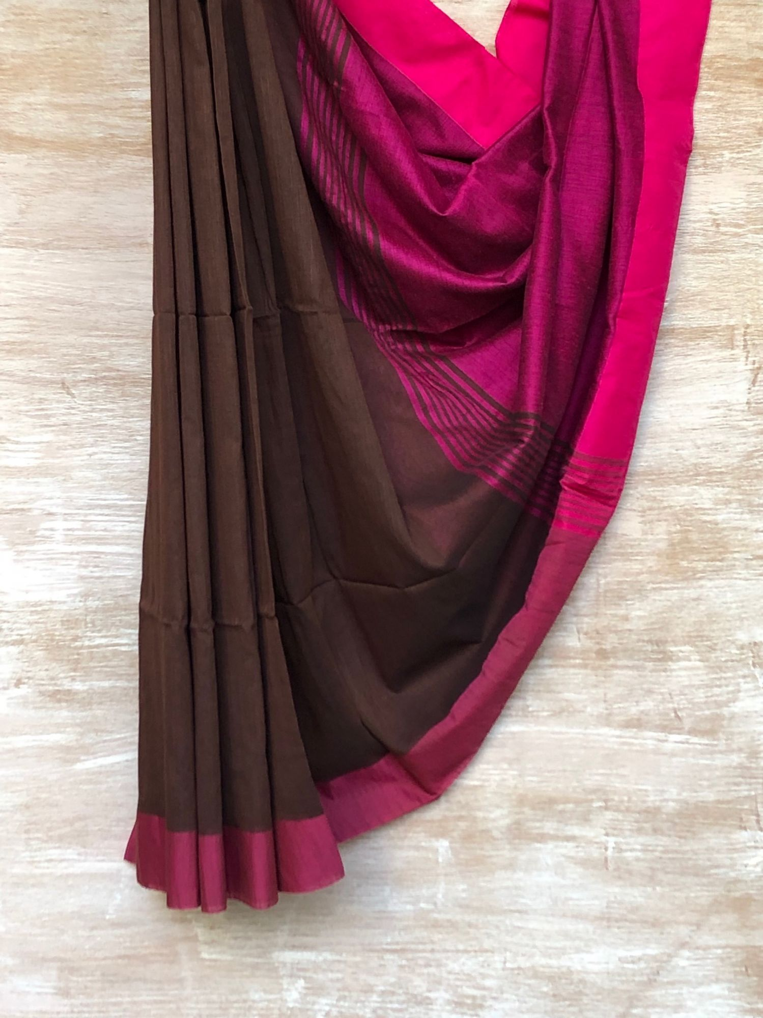Brown and Pink Saree