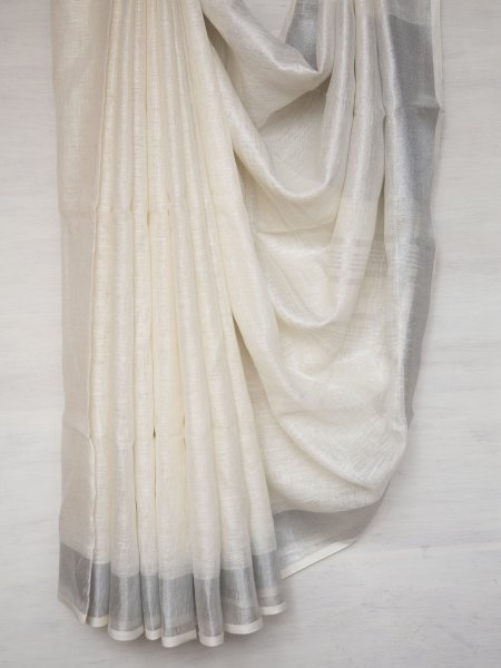 White with Silver Zari Linen Saree