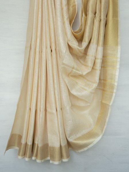 Beige with Gold Zari Linen Saree