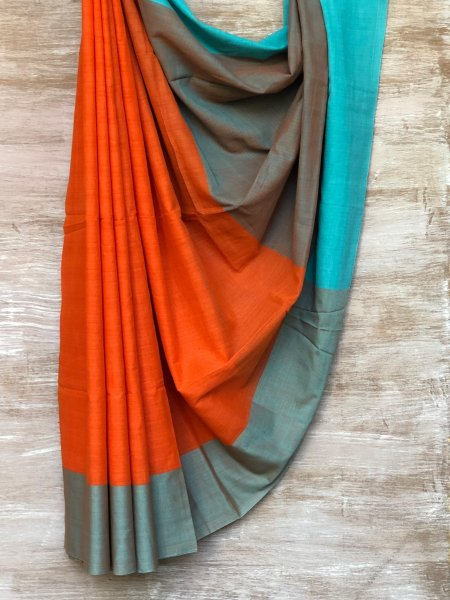 Orange and Turquoise Saree