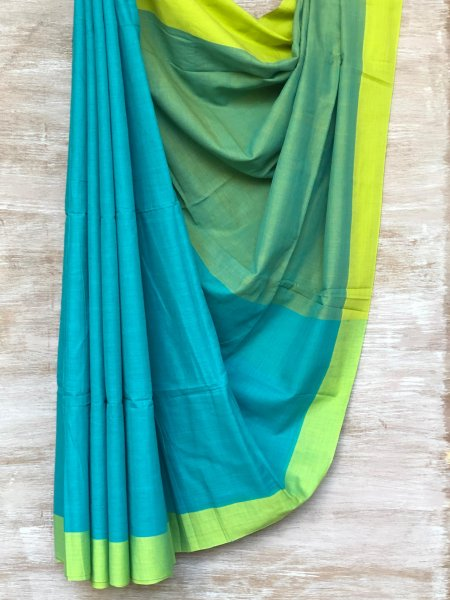 Turquoise and Green Saree