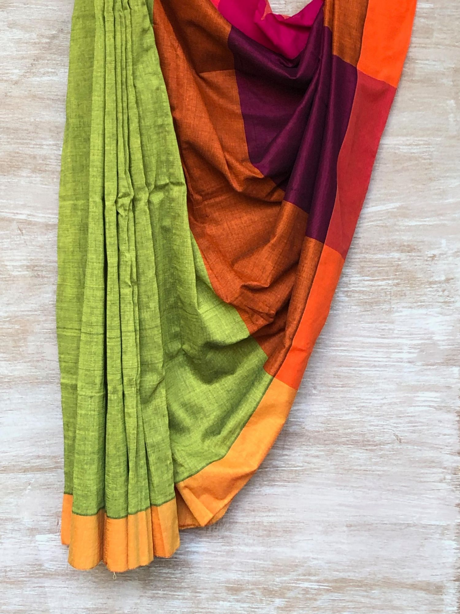 Green, Orange and Purple Saree