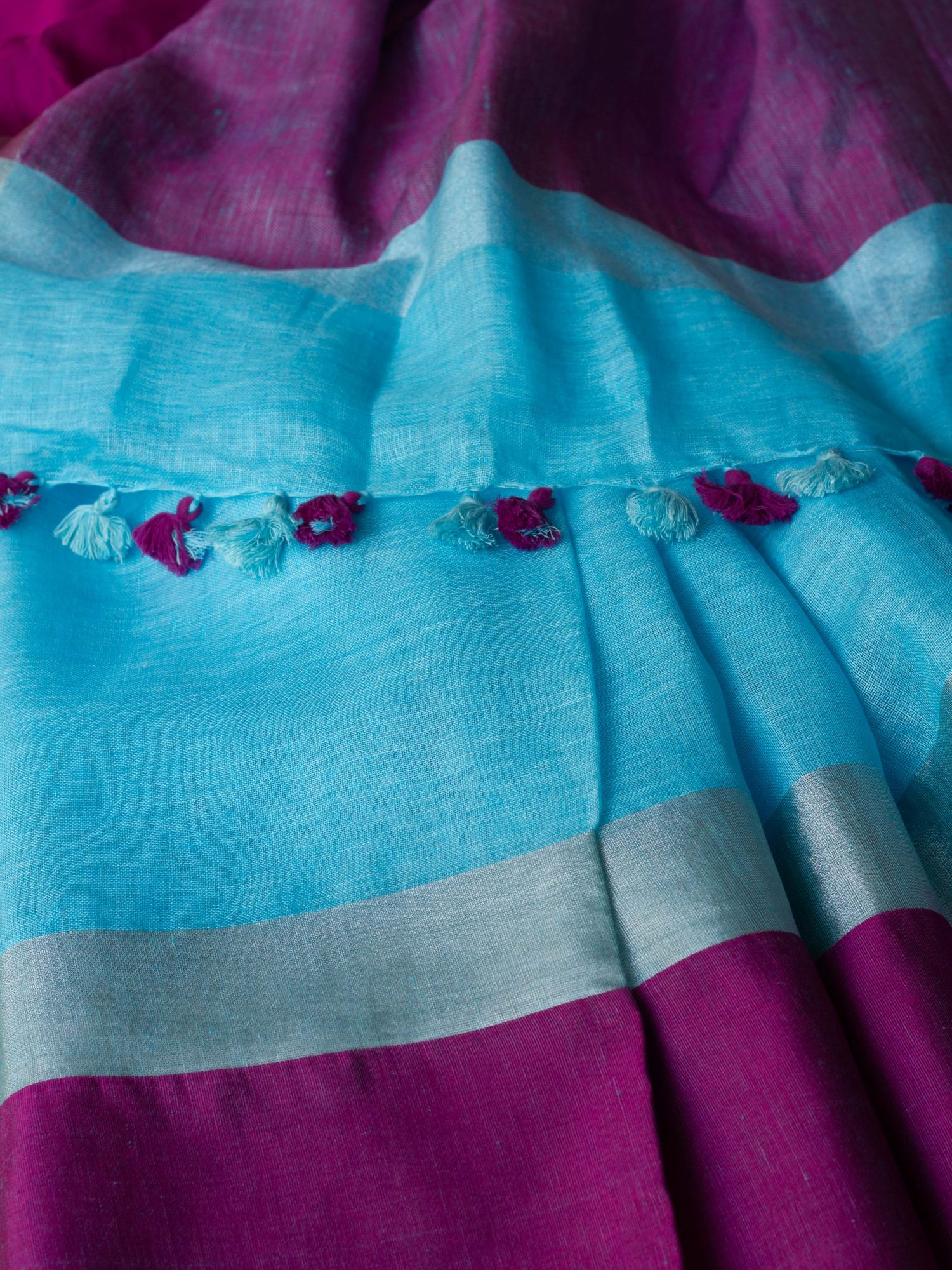 Blue with Purple Border Linen Saree