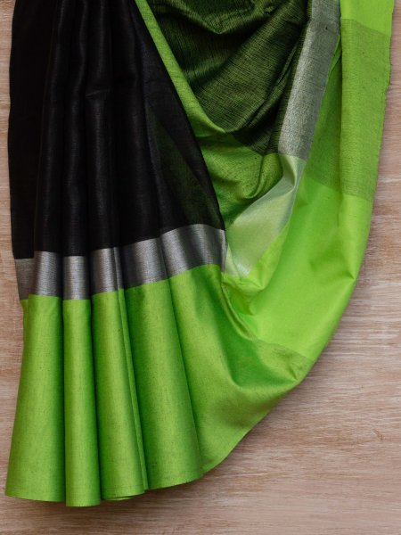 Black  and Green Border Linen Saree