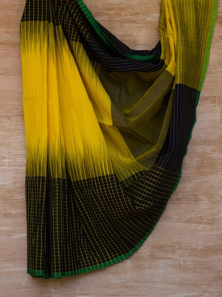 Yellow and Black Checkered Saree