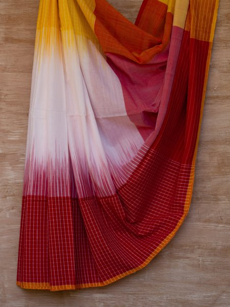White, Red and Yellow Checkered Saree
