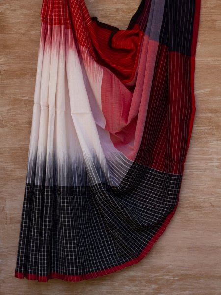 Red, Black and White Checkered Saree