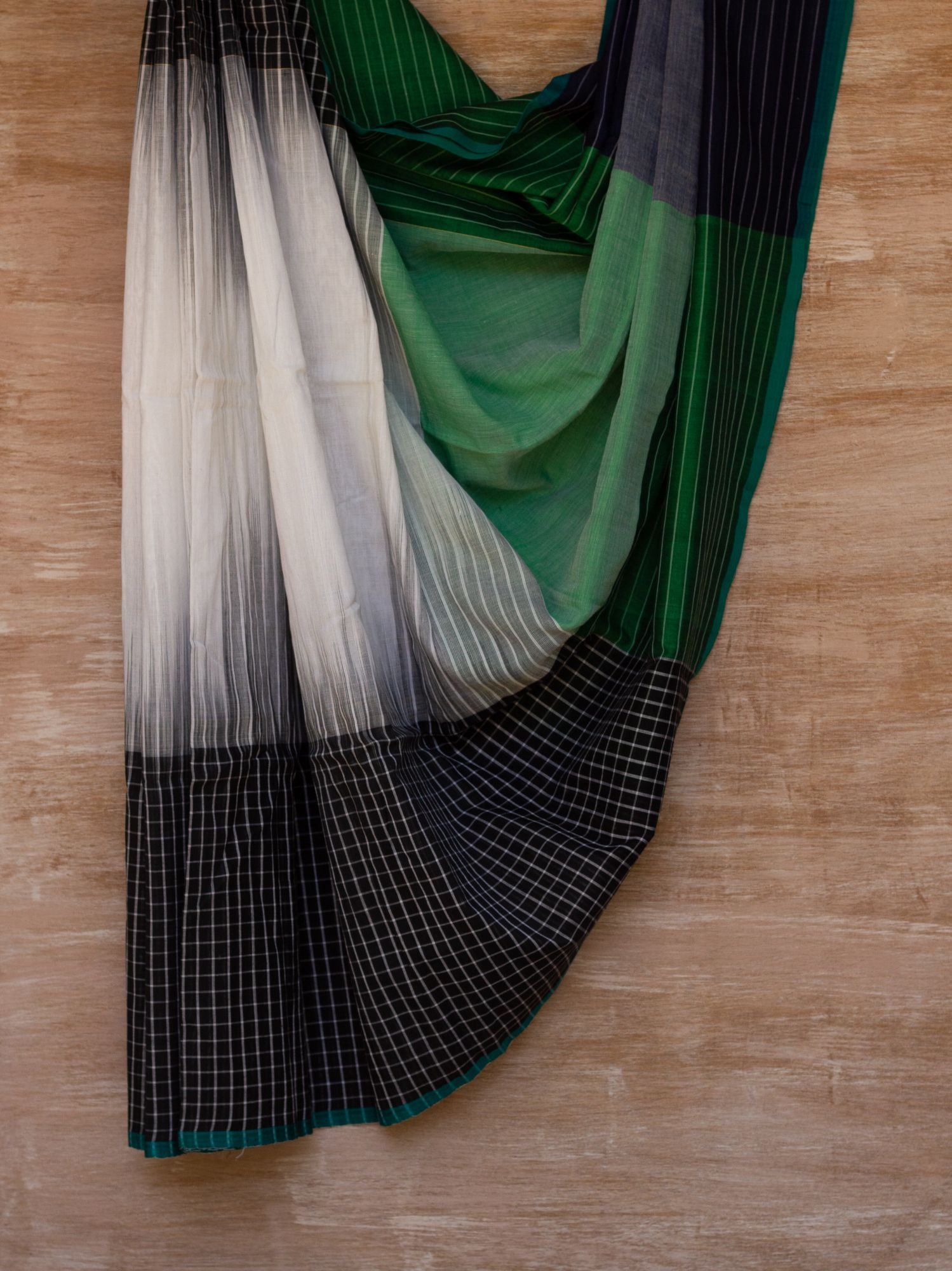 Black, White and Green Checkered Saree