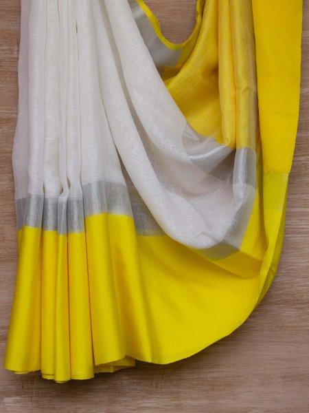 White and Yellow Border Linen Saree