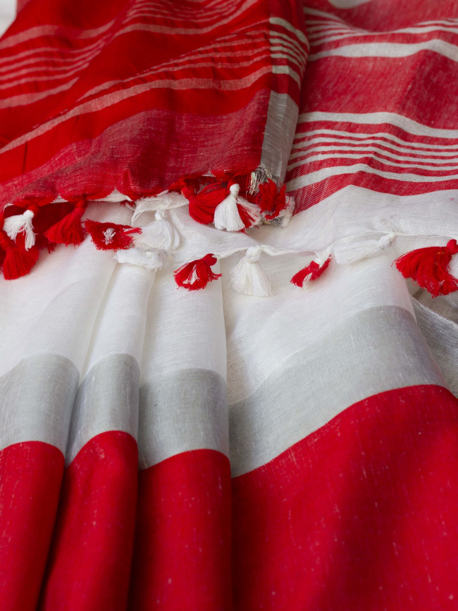 White and Red Border Linen Saree