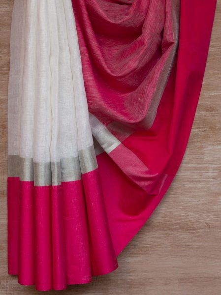 White and Pink Border Linen Saree