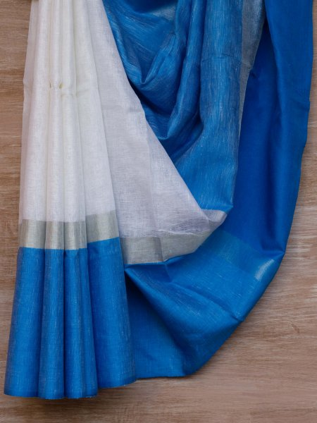White and Blue Border Linen Saree